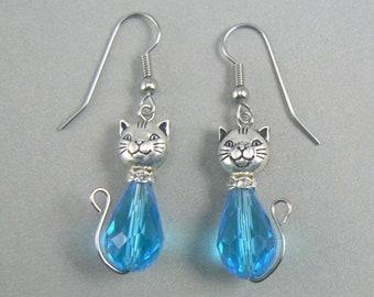 Cat Glass Drop Dangle Earrings - Aqua