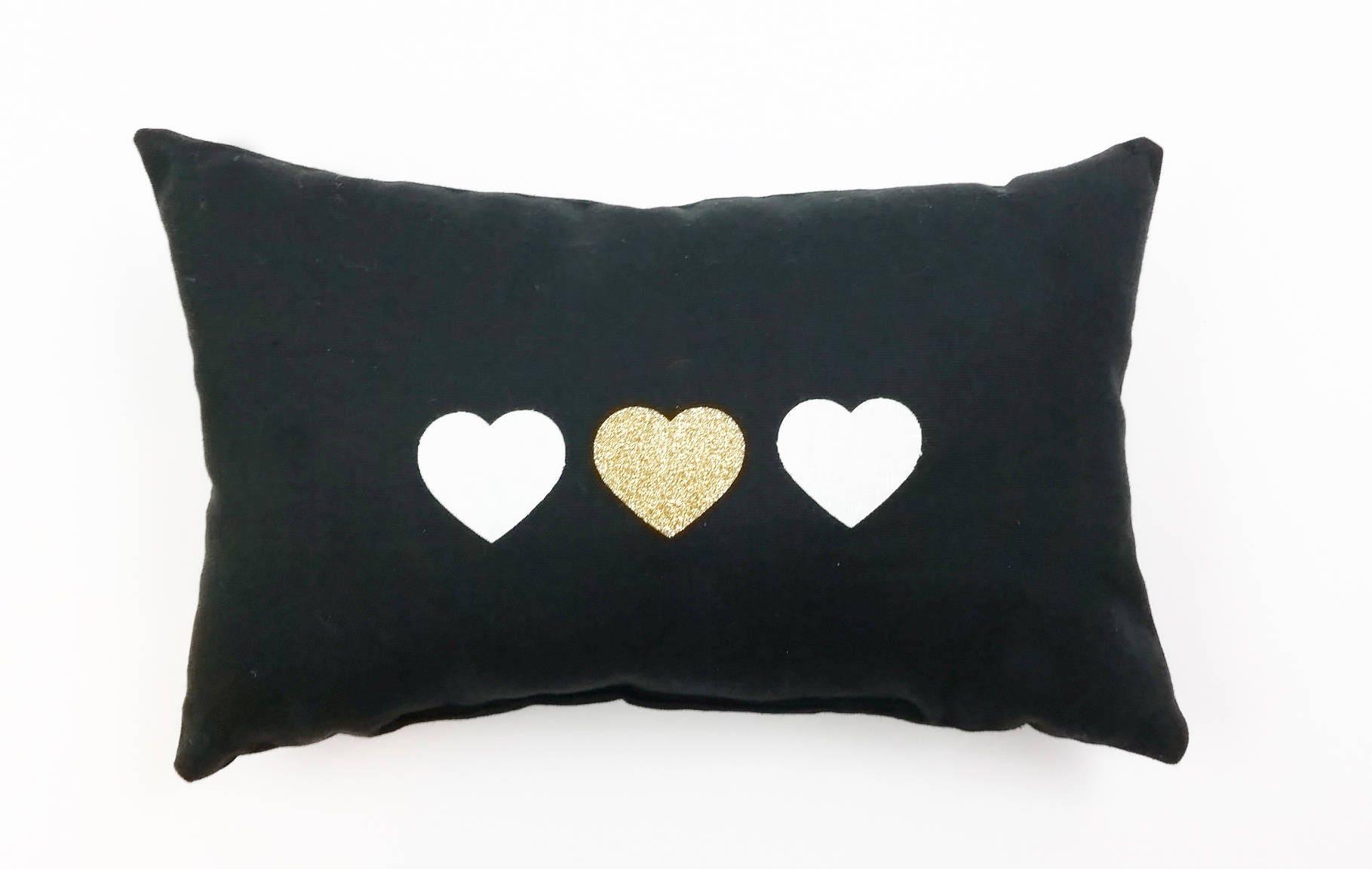 Gold heart Pillow Valentines Pillow metalic gold heart