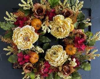 Fall Wreaths, Front Door Wreath, Fall Berry Wreath, Fall Hydrangea Wreath, Pumpkins, Thanksgiving Wreath