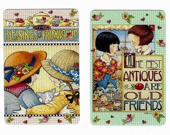 FRIENDS & FRIENDSHIP (2) Mary Engelbreit Single Swap Playing Cards Paper Ephemera Scrapbook
