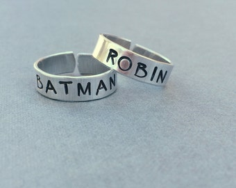 Batman and Robin Best Friend Rings Couples Rings Hand Stamped Aluminum Ring