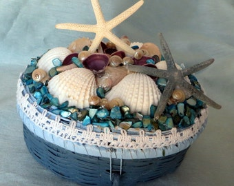 Beautiful shell beach basket in blue, white, purple and teal