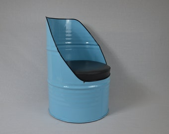 Industrial Furniture Barrel Chair w/ vinyl padded seat. Blue in color
