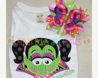 ON SALE Draculette Applique Shirt and Matching Hairbow - Fall - Autumn - Trick or Treat - Halloween - Dracula