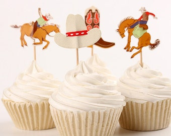 Cowboy Western Theme Party Cupcake Double-Sided Toppers/ Food Picks Decoration, Set Of 24