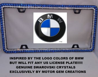 WOW Bling Car License Plate Frame with Swarovski BMW Logo Colors Sapphire Blue White Diamond Crystal rhinestones Black or Shiny Chrome Metal