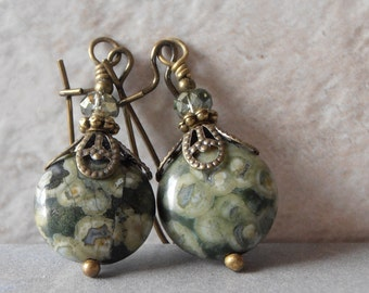 Green Stone Earrings Semi Precious Rhyolite Coin Bead Earrings Rustic Jewelry Green Dangles Everyday Earrings Marbled Green Earrings