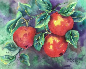 Apple Watercolor, Fall Apples, Harvest, Kitchen Decor, Fruit, Red Green,Art With Heart, Martha Kisling