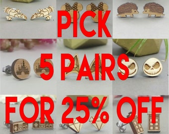 Pick Any 5 Earrings In Stock for 25% Off - Star Wars - TARDIS - Anchor - Star Trek - Bicycle - Frozen - Disney - Harry Potter