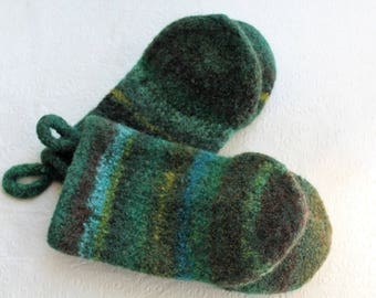 Knit Felted Wool Oven Mitt Set in Greens Brown, Green Boiled Wool Oven Mitts, Green Wool Oven Glove Set, Hostess Gifts, Chef Kitchen Gift