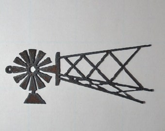 WINDMILL made of Rustic Rusty Rusted Recycled Metal Custom PERSONALIZED Windmill / FARM / Ranch / Country Decor Ornament or Magnet