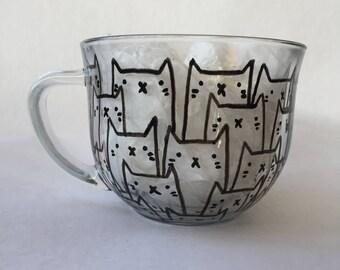 Hand painted cat mug//Kitty mug