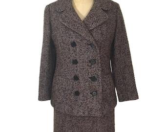 vintage 1960's tweed skirt suit / brown blue black / wool / skirt jacket / double breasted suit / women's vintage suit / size medium
