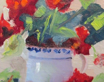 Geranium floral still life oil painting Art by Delilah