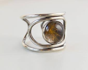 Rutilated Quartz Third Eye Ring, Sterling Silver Stone Ring, Gold Filled Gemstone Ring, Crystal Ring, Adjustable Cuff Ring, Statement Ring