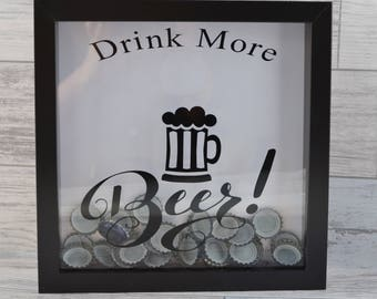 Beer Cap Holder, Beer Lovers Gift,  Gifts For Men, Fathers Day Gift, Beer Cap Box, Beer Cap Shadow Box, Beer Drinker Gift, Beer Gifts,
