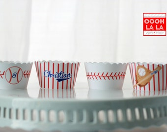 MADE TO ORDER Personalized Baseball -themed Cupcake Wrappers- Set of 12, different sizes available
