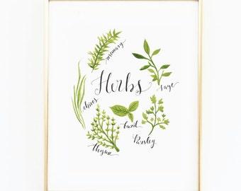Kitchen Herbs Watercolor, Kitchen decor print, rosemary sage thyme print, wall decor, herb illustration, inspirational art print, botanical