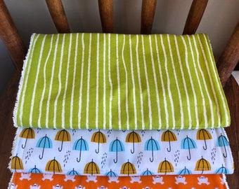 Organic Burp Cloth Set, Orange Frog, Green Stripe, Umbrella, Cloud 9 Organic Fabric Burp Cloths, Birch Organic Burp Cloth, Gotts Terry