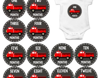 Monthly Baby Milestone Stickers Baby Boy Baby Shower Gift One-Piece Baby Stickers Monthly Baby Stickers Baby Month Sticker Fire engine  1093