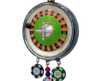 "5.75"" Roulette Casino Poker Chip Glass Christmas Ornament"