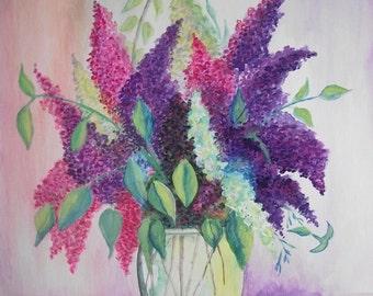 Vase of Flowers , Watercolor Painting