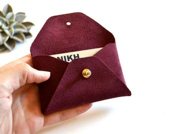 Bordeaux leather card holder / Red wine envelope card holder / Bordeaux leather business card case / Genuine leather