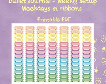 Bullet Journal PRINTABLE stickers - Weekdays Titles in colourful Banners