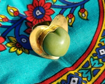 Corazon Verde Ring - Adjustable heart shaped ring