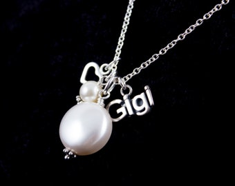 Sterling Silver Gigi Necklace with Coin Pearl
