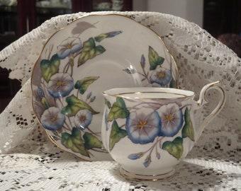 Royal Albert Cup and Saucer- Flower of the Month 'Morning Glory'- English Tea Set - Vintage Tea Set - Cup and Saucer Set - Royal Albert set