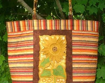 Large Quilted Tote with Sunflower Embroidery