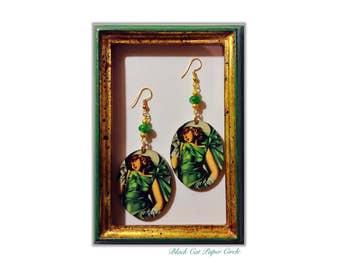Tamara De Lempicka-Young lady with gloves handmade handcrafted wood earrings art decoupage