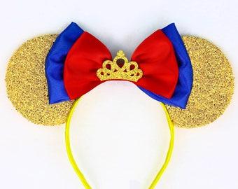 Snow White Ears Gold Minnie Mouse Ears Headband - Crown Disney Ears Gold Mickey Mouse Ears Princess Ears Snow White Bow Snow White Costume
