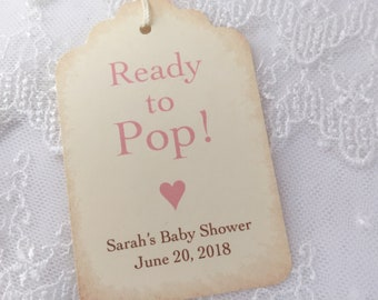 Ready to Pop Tags, Baby Popcorn Tags, Baby Shower Popcorn Tags, Girl Popcorn Favor Tags, Set of 10