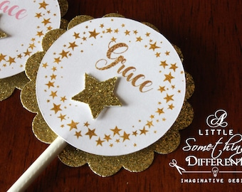 Little Star Glitter Cupcake Toppers / Twinkling Star Glitter Cupcake Toppers / Gold Star Cupcake Toppers / Star Birthday Cupcake Topper