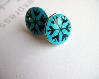Blue Snowflakes Stud Earrings - Blue Snowflakes Earrings, Blue Post, Blue Earrings, Fun Earrings, Funny Earrings, Cute, Adorable