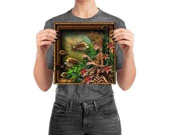 Poster, Portrait #71, Glow, wall art, digital collage, digital print, art print, wonderland, art, 18x18, 14x14, 10x10,