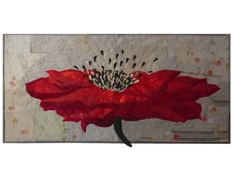 Red poppy Large art quilt One flower Textile wall hanging Japanese motif Quilted wall art Black red gold Fiber home decor Bright energizer
