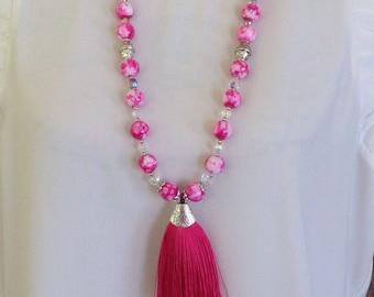 Tassel Necklace Fuschia Pink