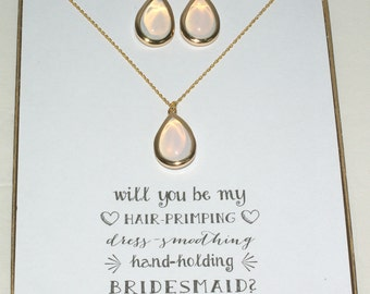 Set of 5 Opal Necklace and Earrings Set, Bridesmaid Gold Necklace Earrings Set, Opal Bridesmaid Jewelry, Wedding Gifts, MP5