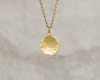Gold Disc Necklace, Gift for Her, Gold Necklace, Dainty Necklace, Hammered Necklace, Geometric Necklace, Simple Jewelry, Minimalist Necklace