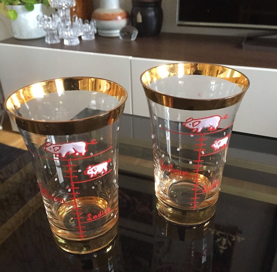 Fun drink glasses for mixing from England measurements / mens ladies Christmas pigs / hand painted gold plated glasses handblown his and her