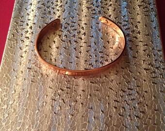 Lovely copper bracelet lightly etched