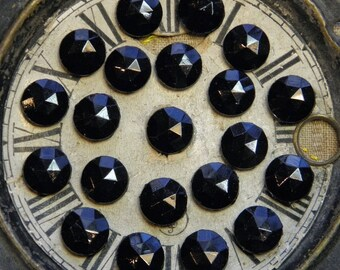 11mm Vintage Beads Nail Heads (25) Black Glass Victorian Faceted