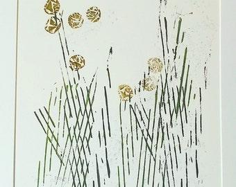 """Cottongrass collograph 12"""" print"""