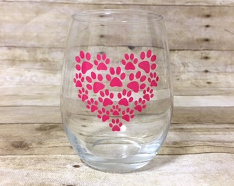 Paw Print Heart Stemless Wine Glass - Dog themed