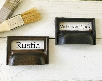 Cast Iron Drawer Bin Pull Label Holder pull Handle In Rustic , Victorian Black , Industrial Rustic Farmhouse , Old Farmhouse Kitchen  School