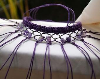 Ultra Violet Fringe Choker, Amethyst Necklace, Macrame Fringe Necklace, Boho Necklace