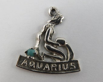 Aquarius Zodiac With Turquoise Stone Sterling Silver Vintage Charm For Bracelet